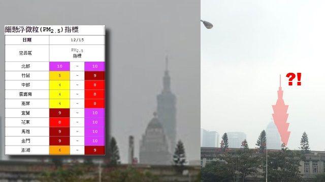 101變不見?PM2.5濃度拉警報 橫掃全台