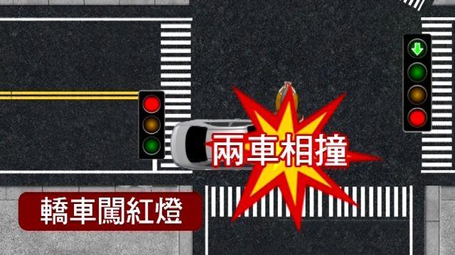 機車搶快左轉 遇上闖紅燈轎車撞飛