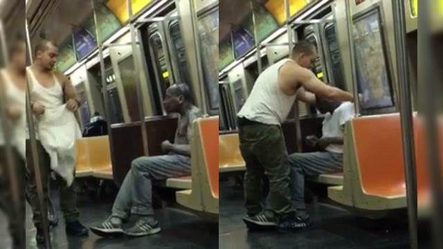 紐約地鐵暖男 寒冬脫衣贈街友