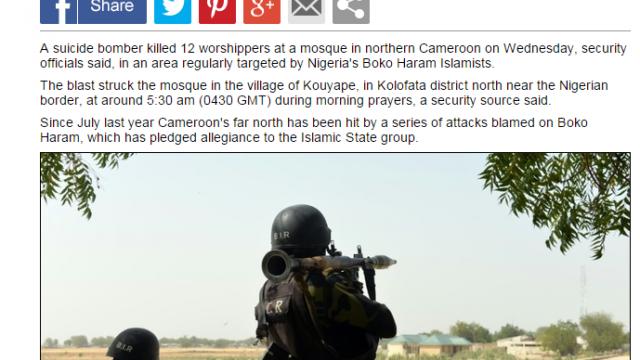 「博科聖地」襲喀麥隆清真寺 至少10死