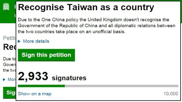 英國街頭正夯!連署:承認台灣是國家