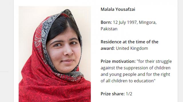 最年輕諾貝爾得主 16歲馬拉拉爭女權