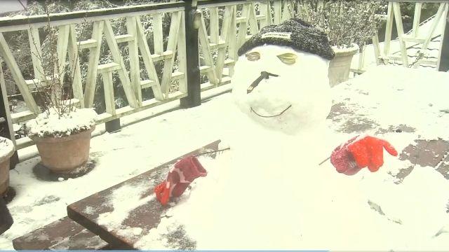 陽明山睽違11年再下雪 民眾上山追雪塞爆