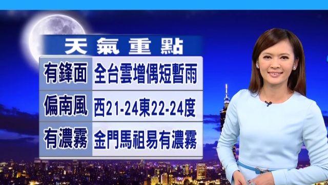 【2016/01/27】明鋒面影響 全台雲增 偶現陽光偶小雨