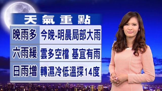 【2016/01/29】周六雨漸緩 周日雨再增 天氣轉濕冷
