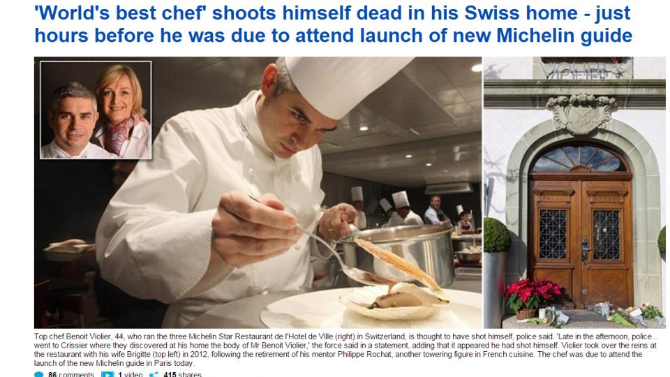 米其林三星餐廳主廚 驚傳舉槍自盡