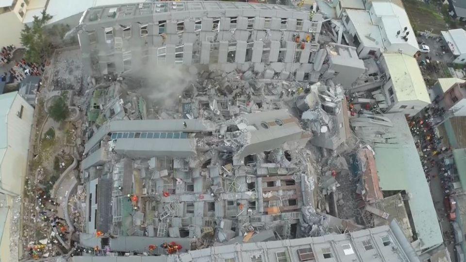 台南維冠金龍大樓 倒塌現場空拍直擊