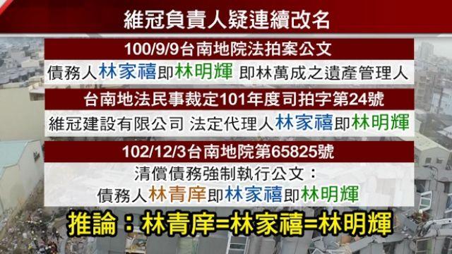 維冠建設負責人 疑2次改名現叫林青庠