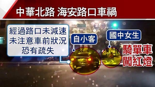 國中女生騎單車闖紅燈 遭自小客撞飛