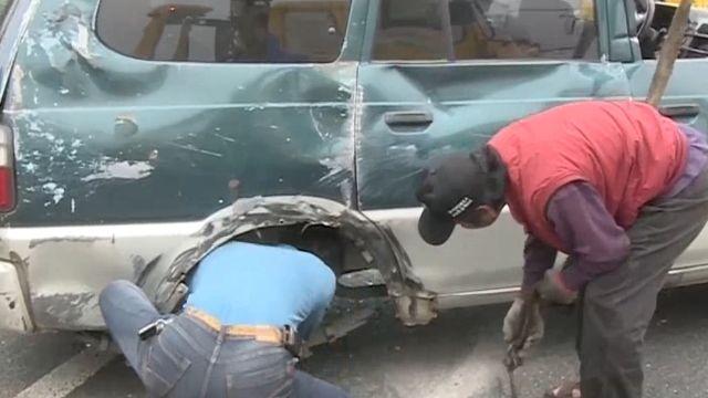 駕駛煞車不及 換車道不慎擦撞聯結車