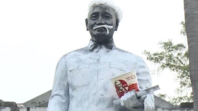 雲科大蔣公像被噴漆 惡搞成「肯德基爺爺」