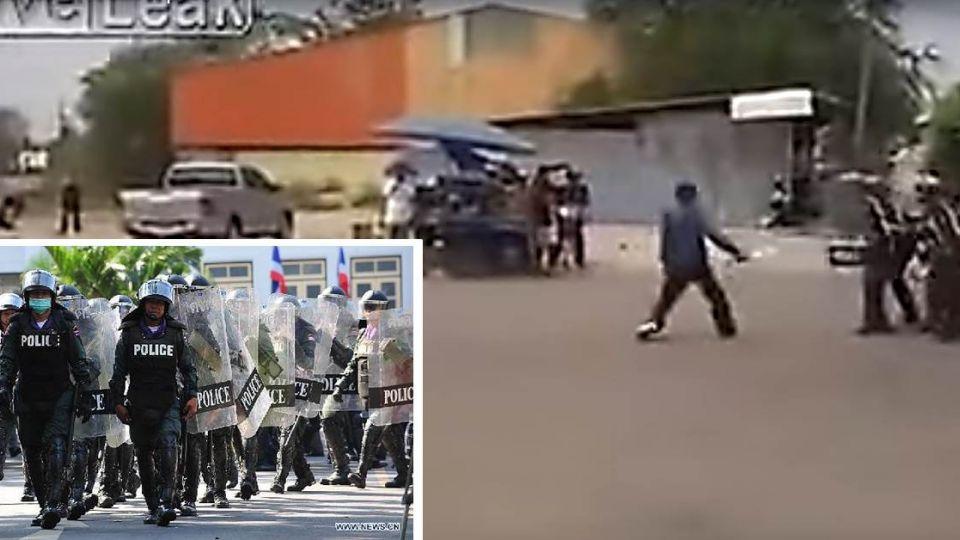 泰匪大刀與警對峙 遭警灑網制伏在地