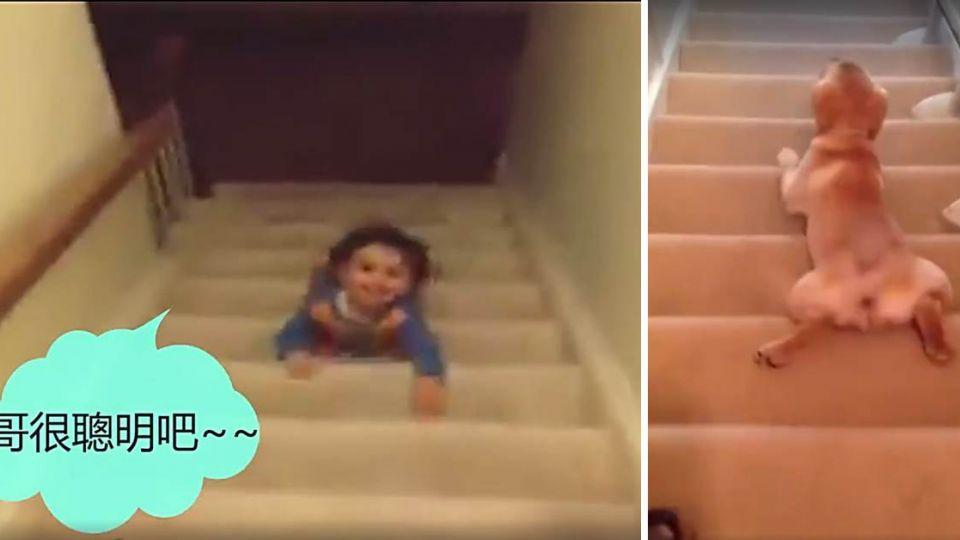 風一般的男子!萌娃秀下樓梯神技