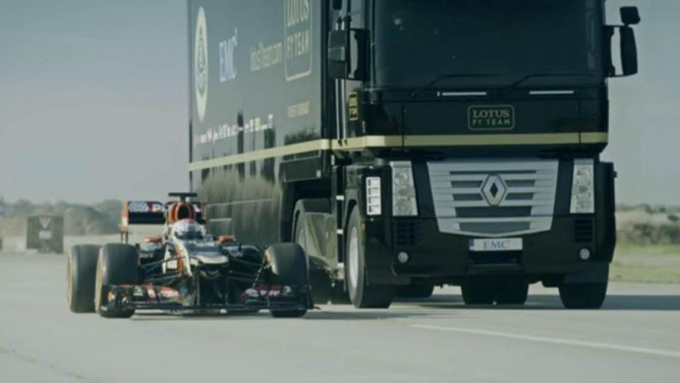 驚險破表!16噸大卡車飛越F1賽車