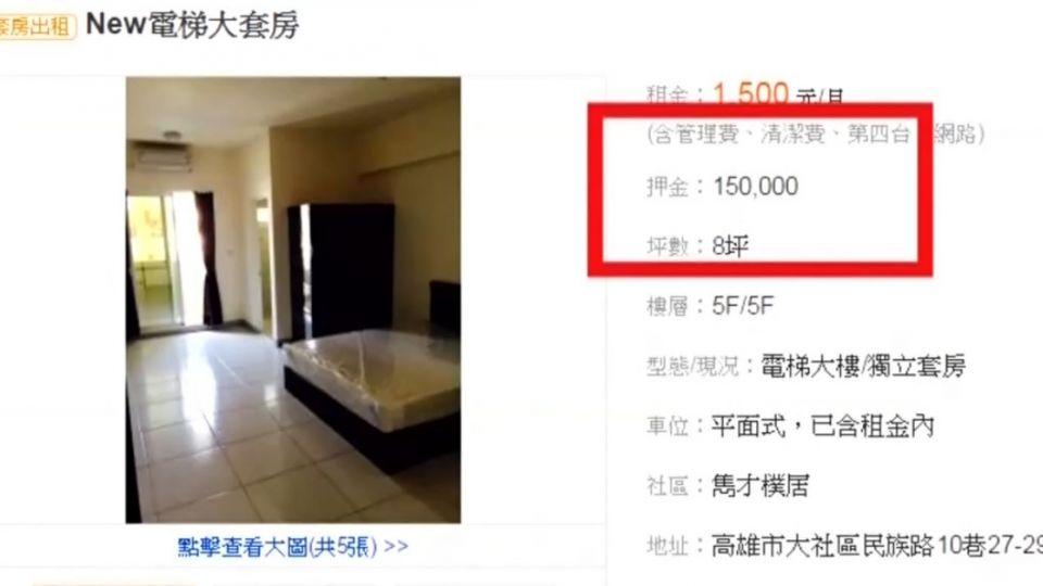 合理?月租金1千五好便宜 但押金卻要....15萬