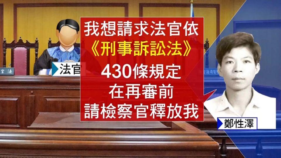 「我沒槍殺警」 死囚鄭性澤關14年首出庭