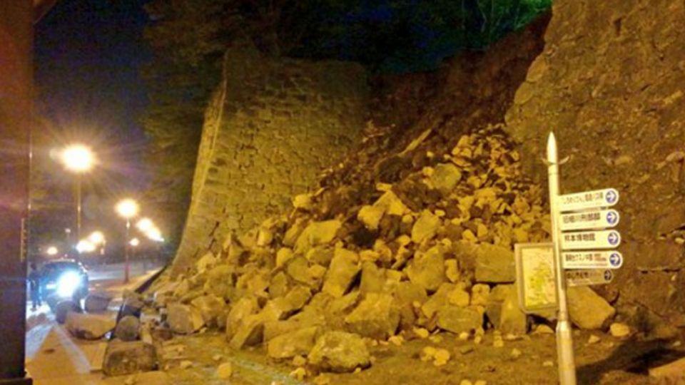 【影片】餘震不斷!「熊本城」石牆脫落逾10公尺