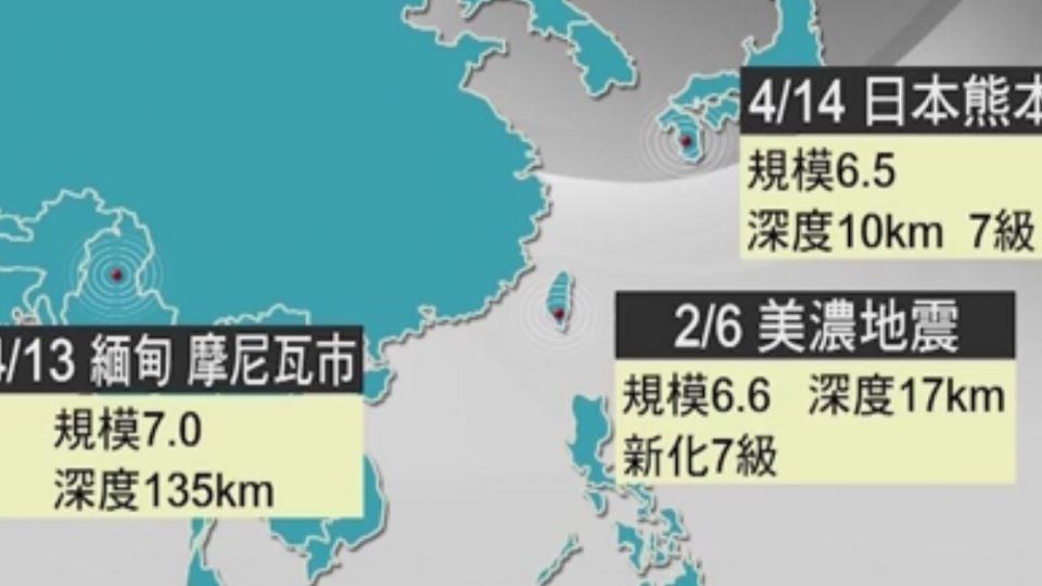 兩個月內3次大震 專家:板塊不同、沒關聯