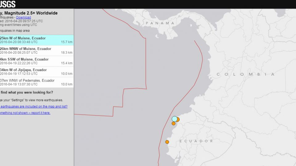厄瓜多「又」震 規模6.1傷亡不明