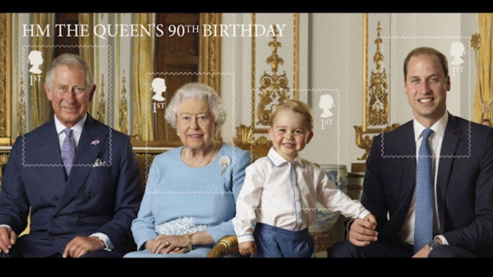 英女王今90歲大壽 四代同堂郵票 喬治萌入鏡