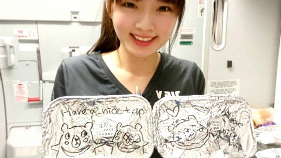 最正空姐餐盒「卡哇伊」塗鴉  網友:想搭她飛機