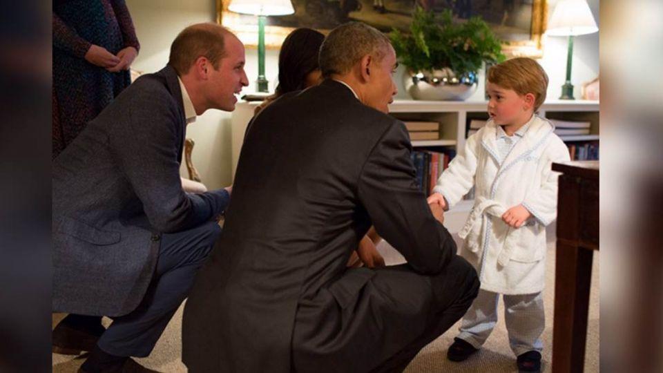好大膽!喬治小王子 穿睡衣拖鞋「接見」歐巴馬