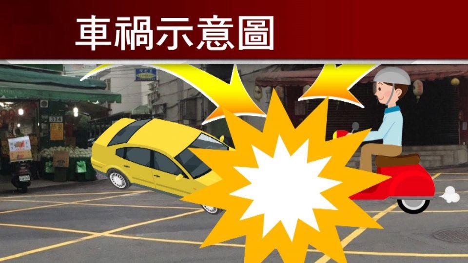 小黃、機車互撞波及行人 七旬婦昏迷命危