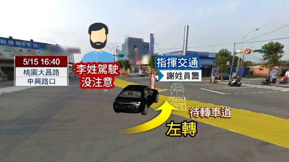 A柱阻擋視線?駕駛左轉衝撞  碰...交警彈飛