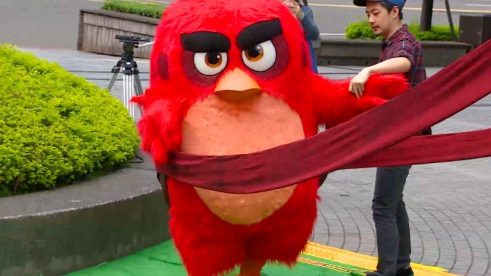 「憤怒鳥」躍上大螢幕 台北街頭驚見「大彈弓」