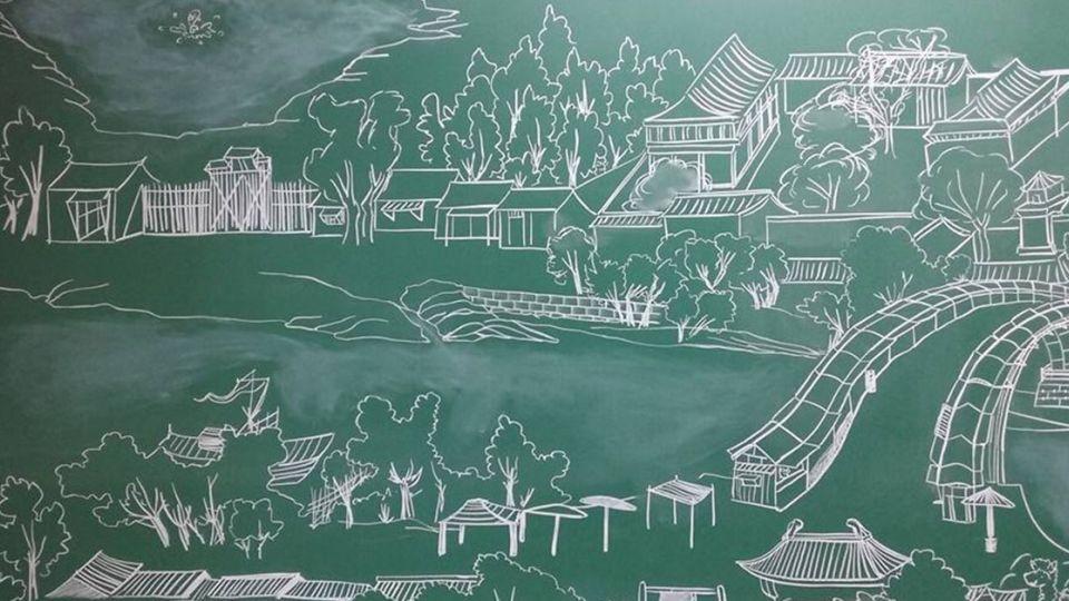 超猛!老師一句話 學生黑板畫「清明上河圖」