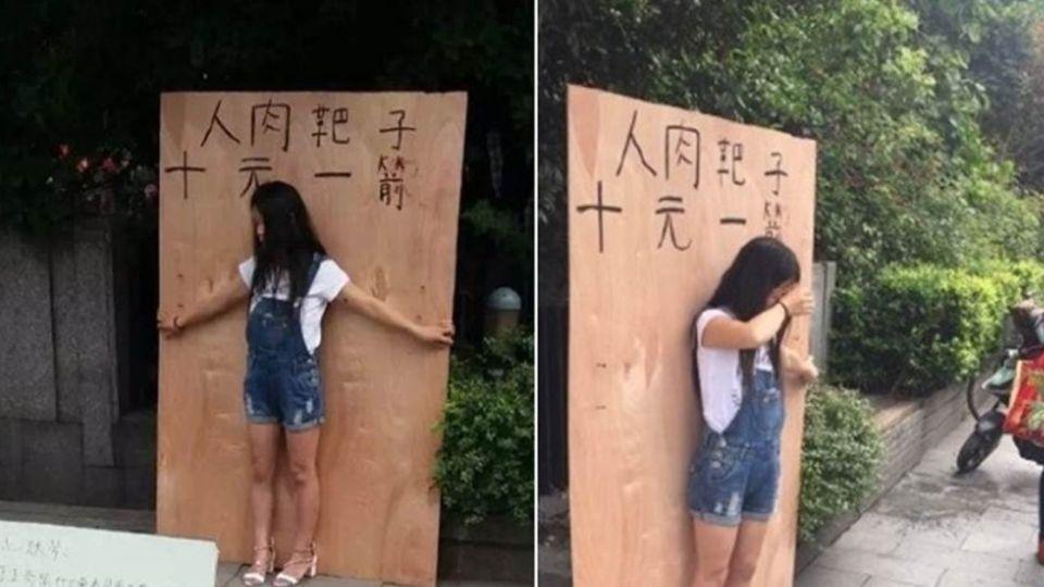少女「人肉箭靶」上街頭 背後原因讓網友噴淚心疼!