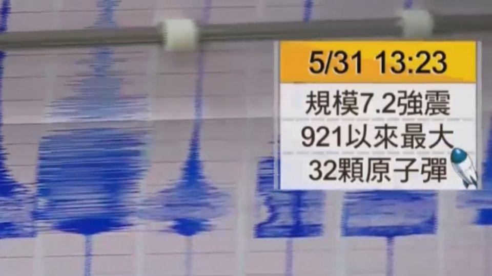 午後發生7.2強震! 921地震後規模最大