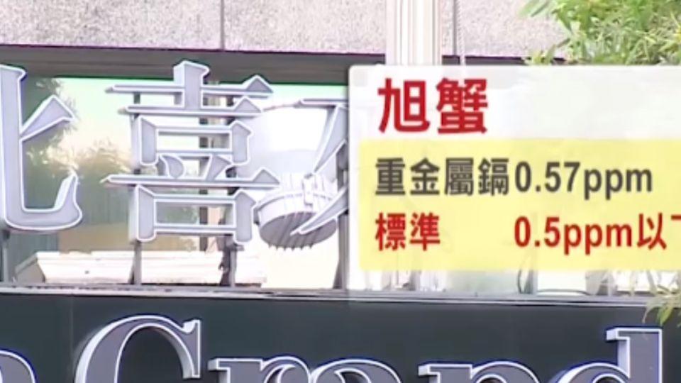 台北喜來登旭蟹鎘超標、白蝦二氧化硫超標5倍