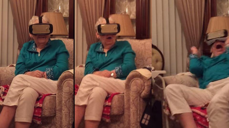 【影片】23秒捧腹笑!奶奶玩VR嚇到反應超誇張