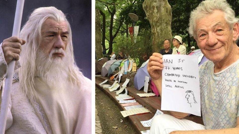 《魔戒》甘道夫上海「相親」 舉紙板開擇偶條件