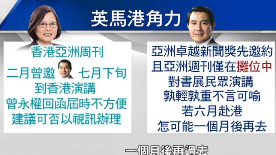 蔡總統拒讓赴港 馬前總統錄影演說