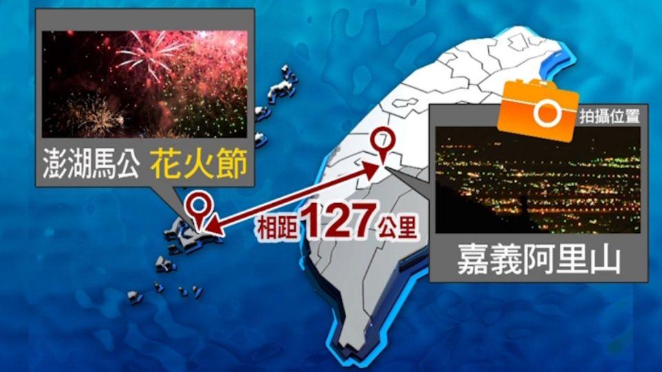 澎湖花火節 百公里外的阿里山石棹也可拍到