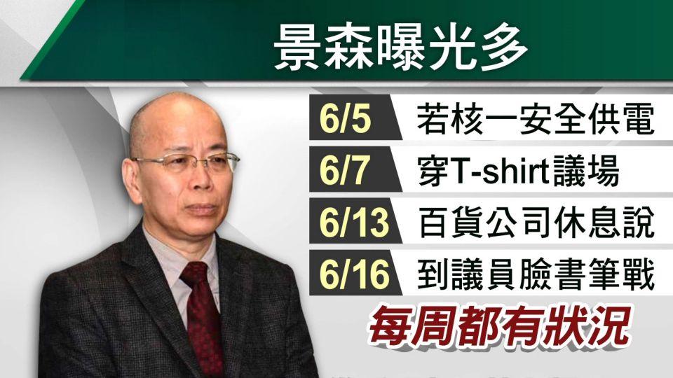林全要求關臉書 張景森因「京華城」筆戰議員