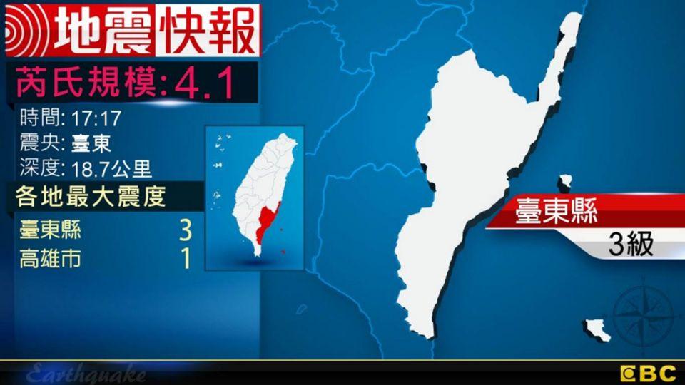 地牛晃動!臺東27秒連兩震 最大規模4.1