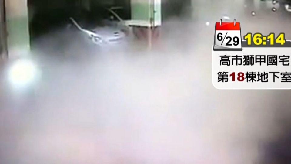 國宅氣爆瞬間 停車場柏油路炸裂砸九車