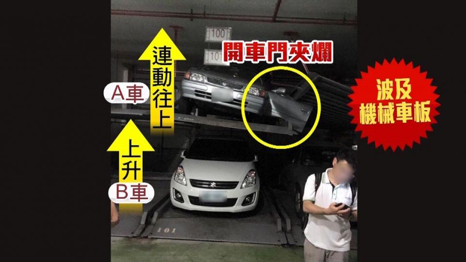 機械車格「一秒突上升」 駕駛驚逃...車門夾爛!