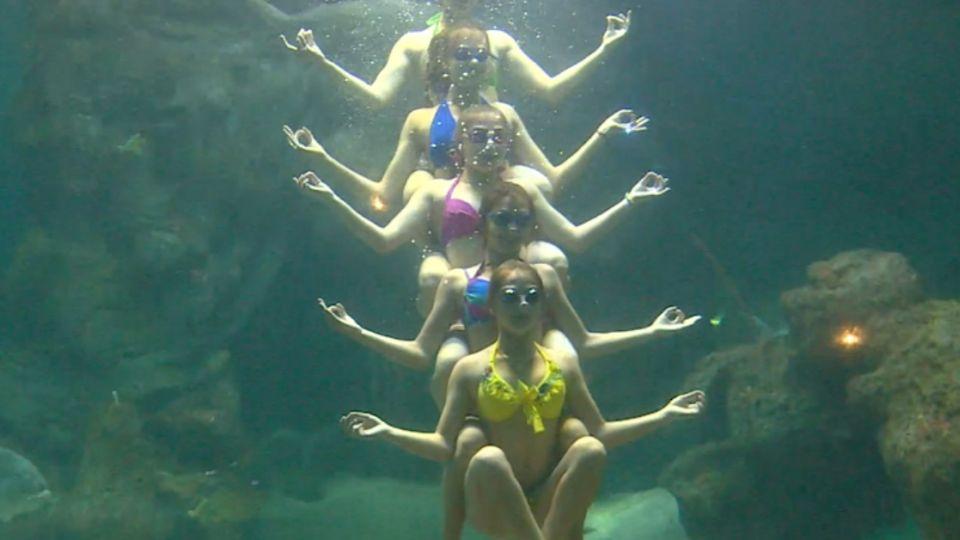 與鯊共舞!俄羅斯美少女「水族箱跳芭蕾」