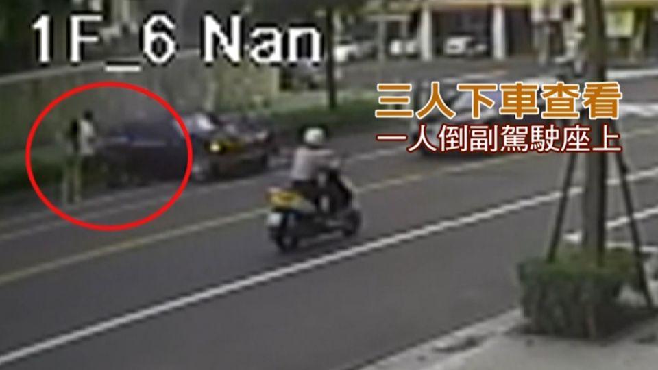 名車攔腰衝撞計程車 驚險掃過路邊老婦