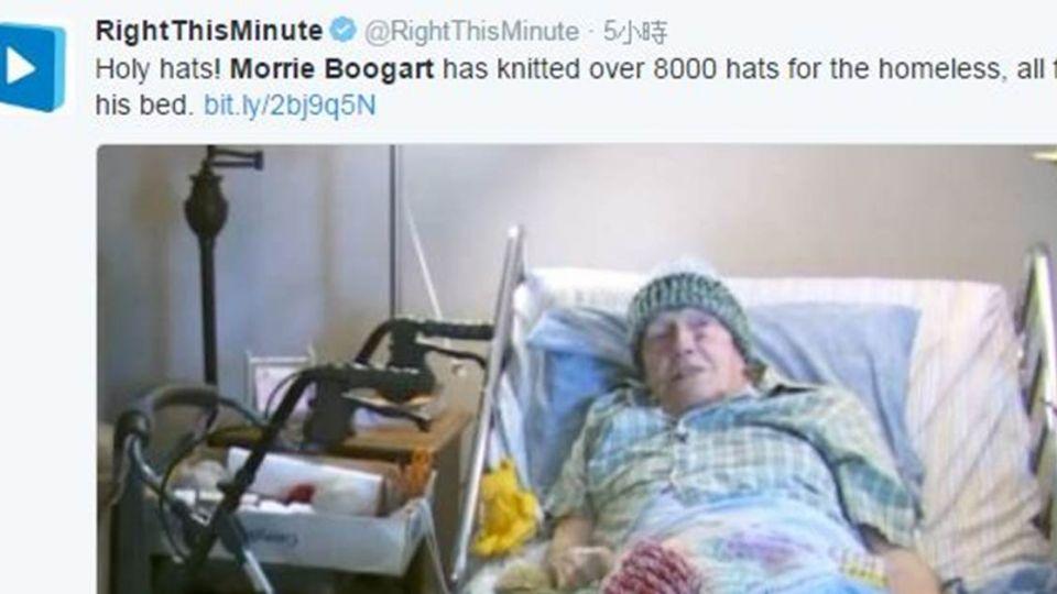 善用人生最後時間!91歲癌爺爺 病床上編織毛帽助流浪漢