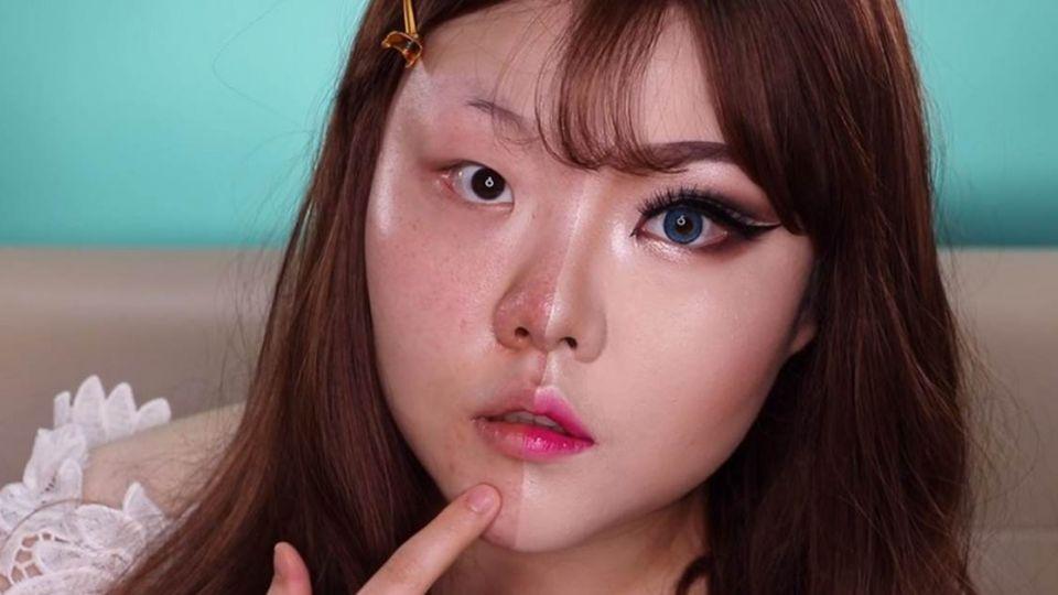 【影片】韓妹示範「半臉妝」 讓你見識化妝的神奇力量