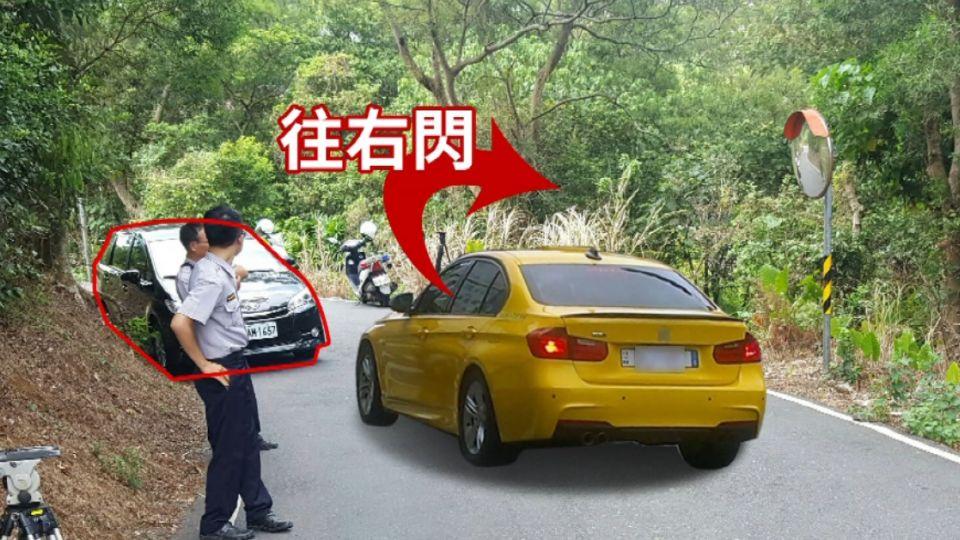 好驚險! 小黃閃車滑落邊坡 險墜7米山溝