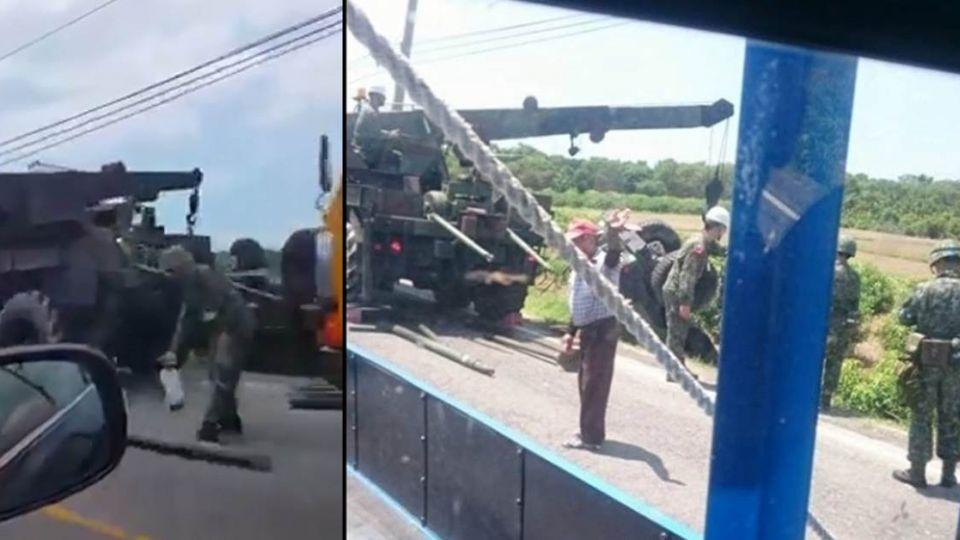 漢光演習登場傳意外!國軍悍馬車避砂石車 翻覆2傷
