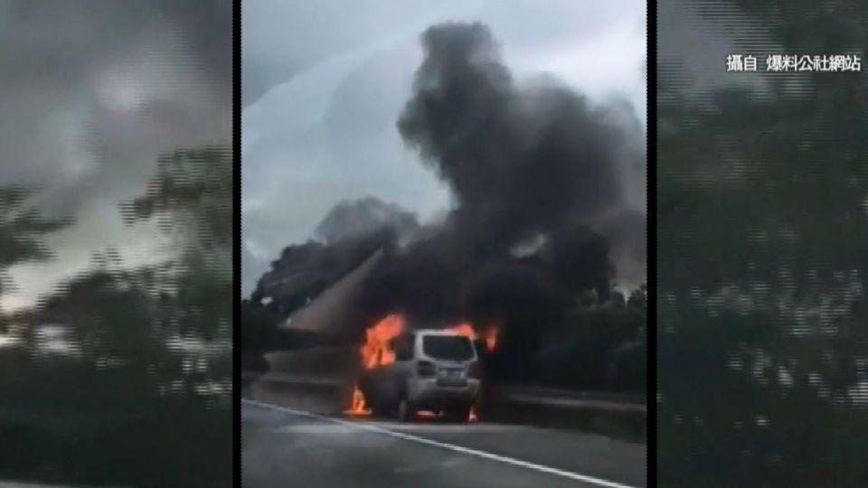 國道三號廂型車起火 駕駛反應快無傷亡
