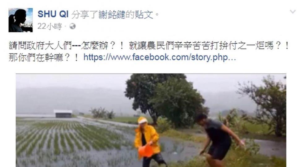 分享青農「泡水問蒼天」搞笑片 舒淇:政府在幹嘛?
