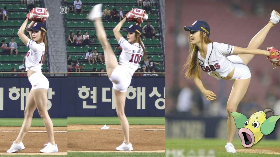 【影片】南韓正妹「朝天蹬」開球!觀眾嚇到變成口呆花